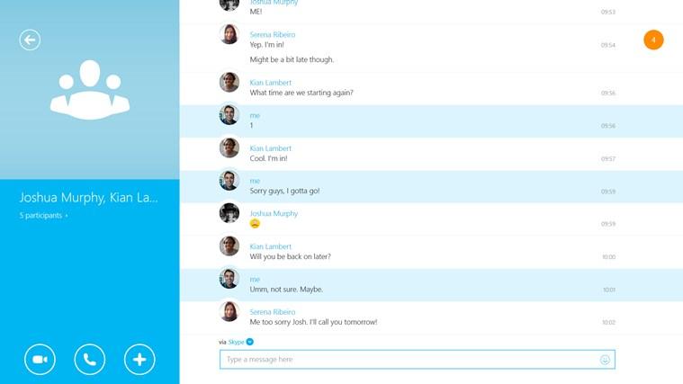 Skype screen shot 3