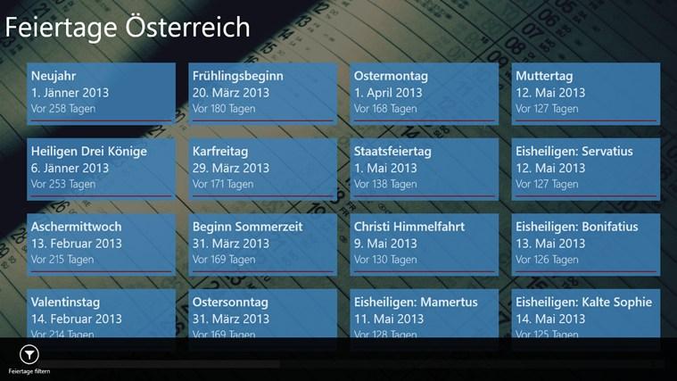 Feiertage Österreich-App für Windows in Windows Store