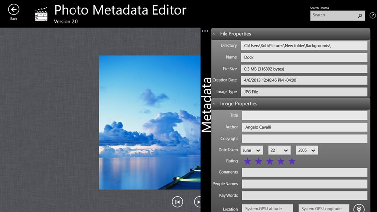 Photo Metadata Editor screenshot 1