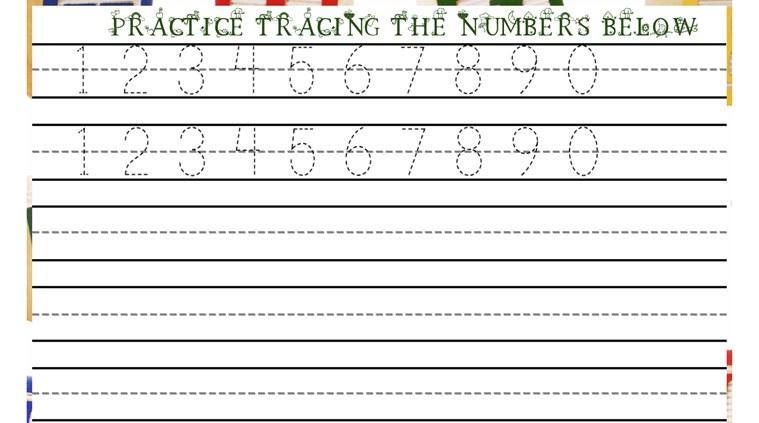 Number Practice Kindergarten Number Tracing Practice