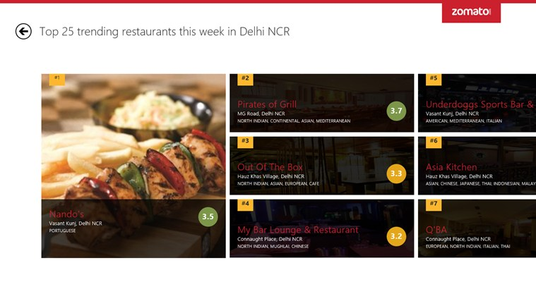 Zomato screen shot 5