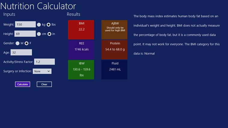Nutrition Calculator screen shot 1