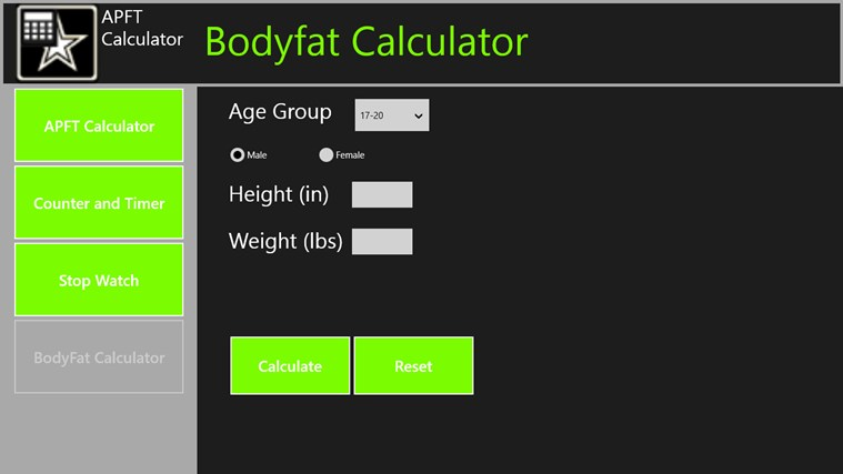 APFT Calculator screen shot 3