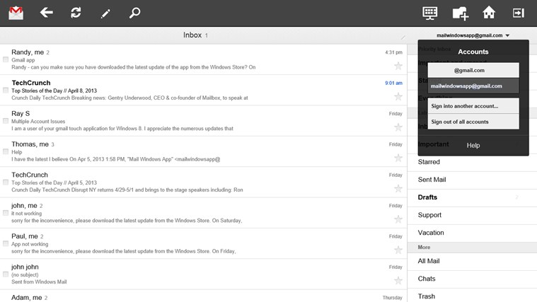 Gmail Touch screen shot 1