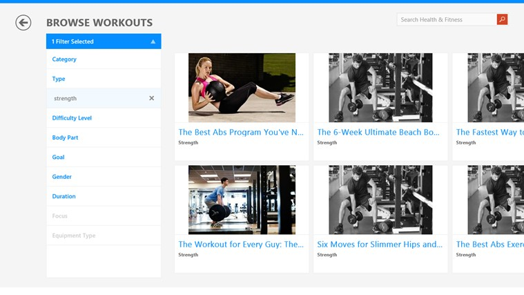 Bing Health & Fitness screen shot 1