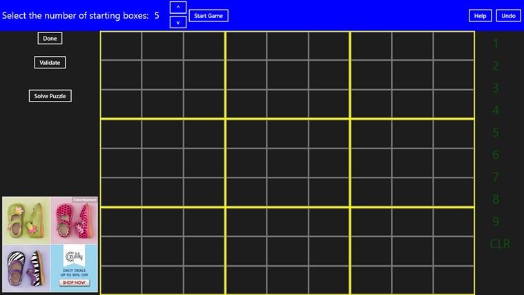 Complete Sudoku screen shot 1