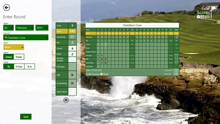Golf Scores + Stats screen shot 1