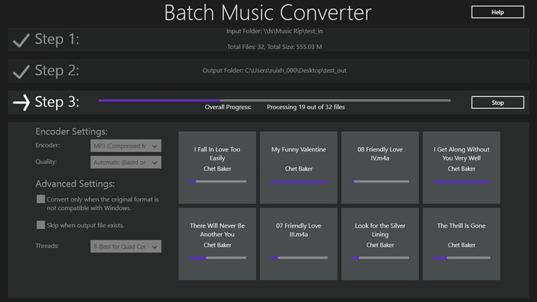 Batch Music Converter screen shot 1