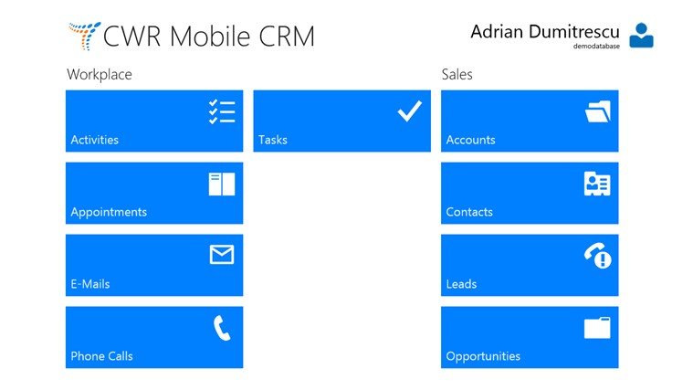 CWR Mobile CRM screen shot 1