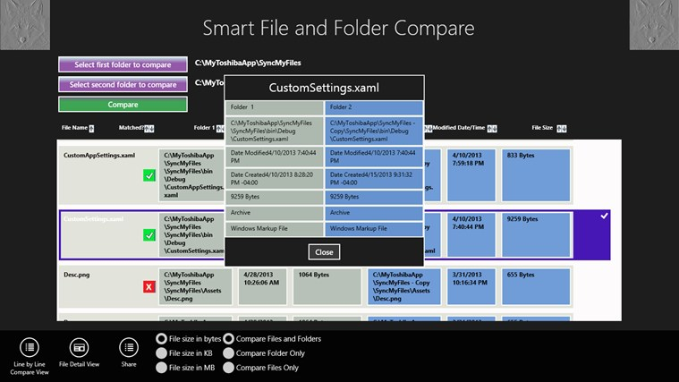 Smart File and Folder Compare screen shot 1