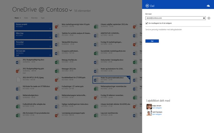 OneDrive for Business skærmbillede 1