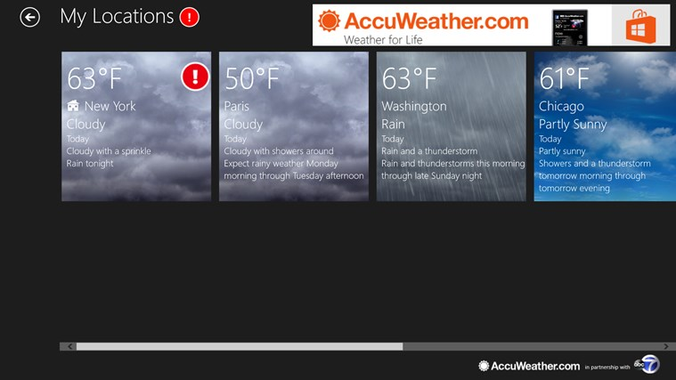 AccuWeather for Windows 8 screen shot 3