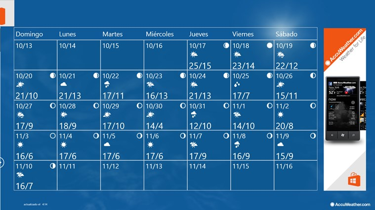 AccuWeather for Windows 8 captura de pantalla 1