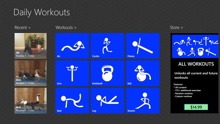 Daily Workouts screen shot 1