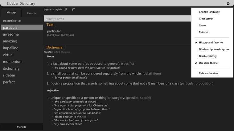 Sidebar Dictionary screen shot 1
