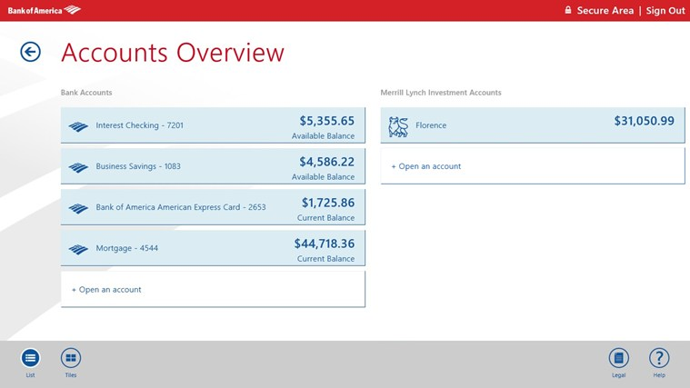 Bank of America screen shot 1