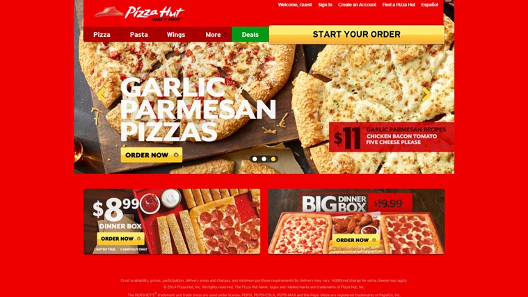 Pizza Hut screen shot 1