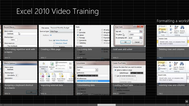 Video Training Excel 2010 screen shot 1